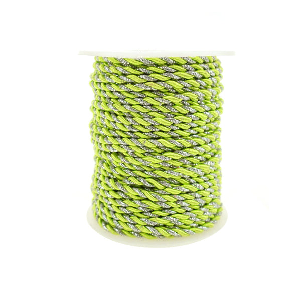 Metallic Twisted Cord Rope Trim, 3mm, 25-Yard, Apple Green