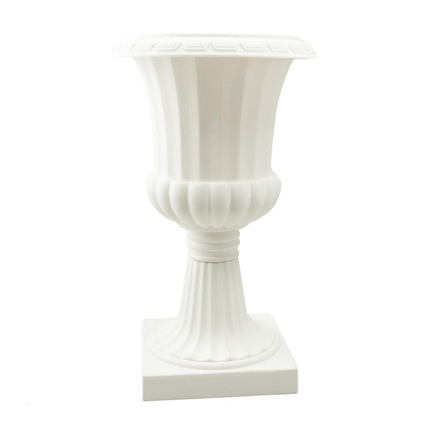Tall Pedestal Plastic Planter Urn, Off-White, 23-3/4-Inch