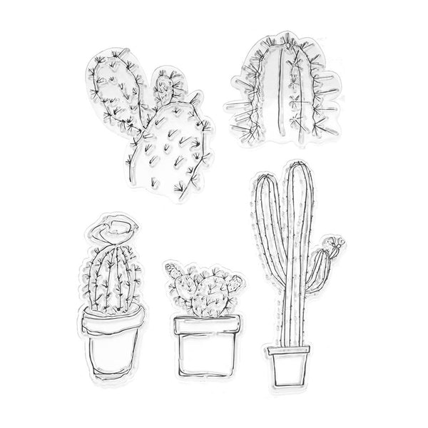 Silicone Desert Cactus Clear Stamps, 5-Piece