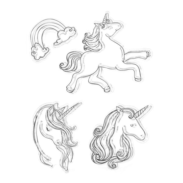 Silicone Mythical Unicorn Clear Stamps, 4-Piece