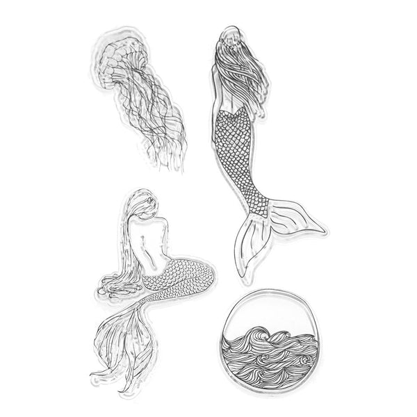 Silicone Under The Sea Mermaid Clear Stamps, 4-Piece