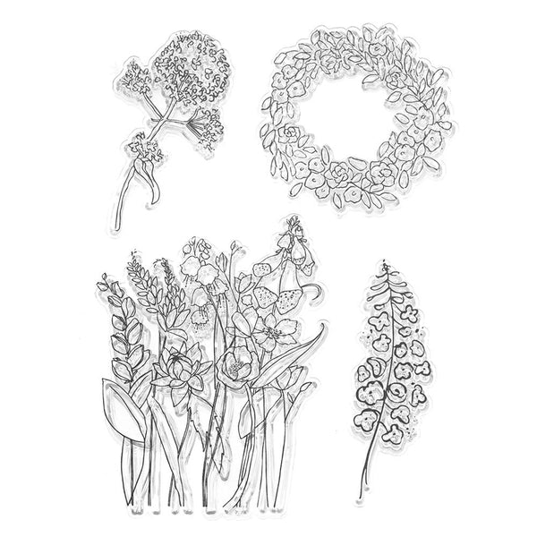 Silicone Spring Garden Clear Stamps, 4-Piece