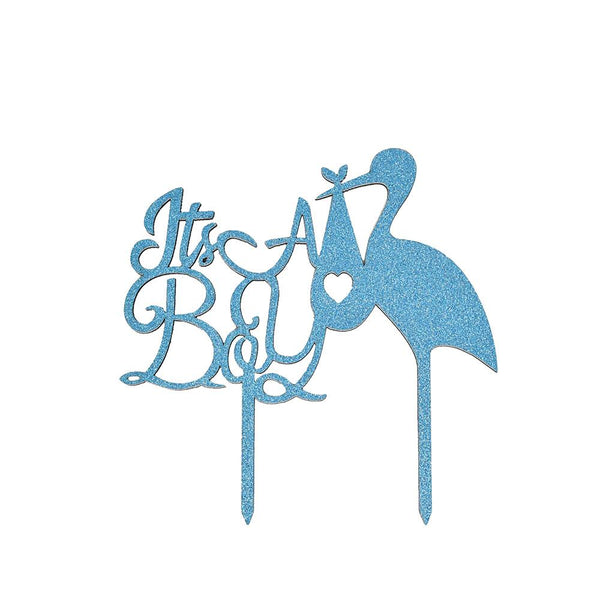 "Glittered ""It's A Boy"" Stork Cake Topper, Blue, 6-Inch"