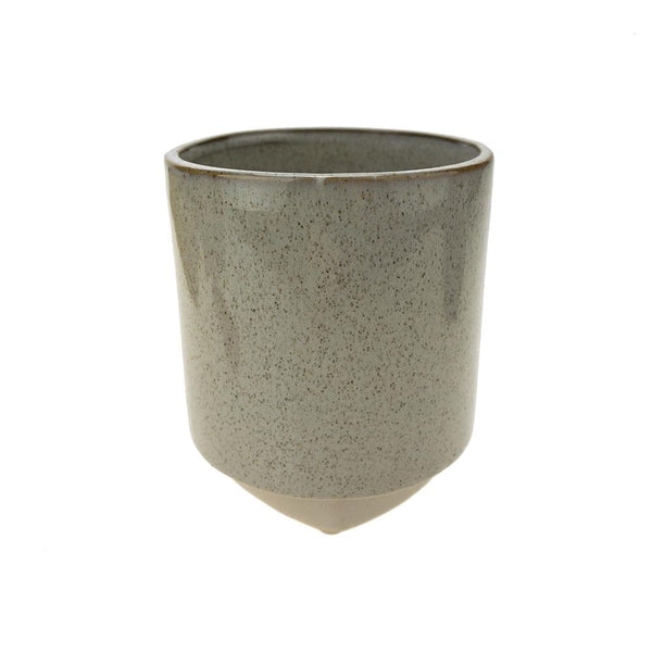 Cylinder Ceramic Pot with Base, 5-Inch, Cream