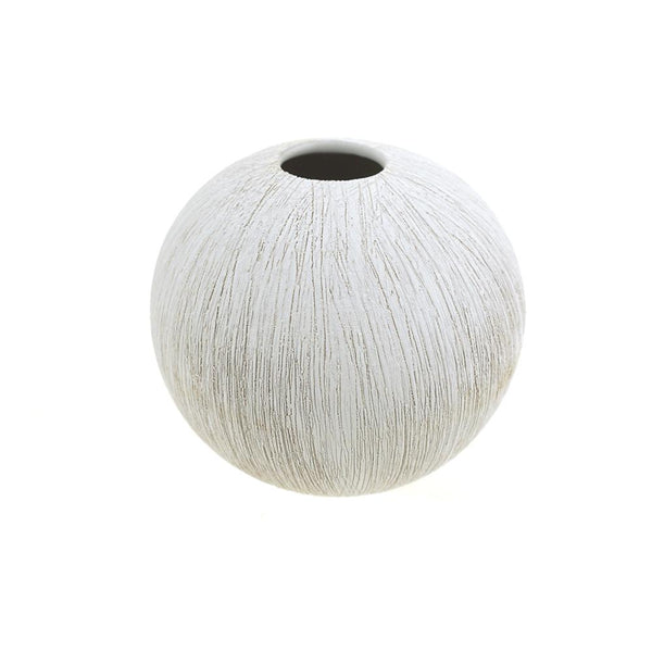 Textured Ceramic Bud Ball Vase, White, 5-Inch