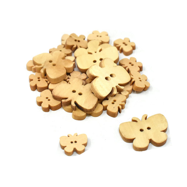 Assorted Craft Wood Butterfly Buttons, Natural, 25-Piece