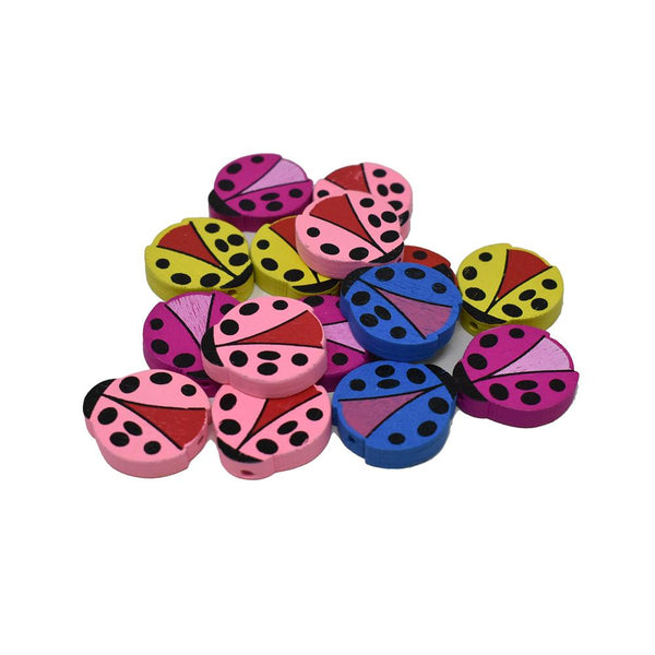 12-Pack, Craft Wood Ladybug Deco Beads, 1-7/8-Inch, 15-Piece