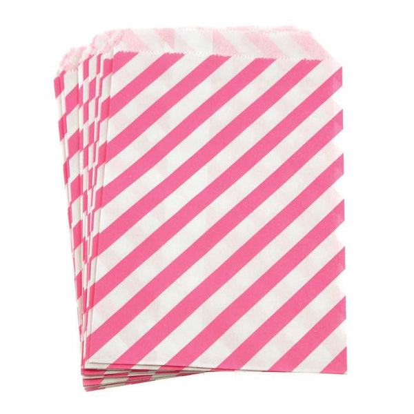 12-Pack, Candy Stripe Paper Treat Bags, 7-inch 25-Piece, Hot Pink