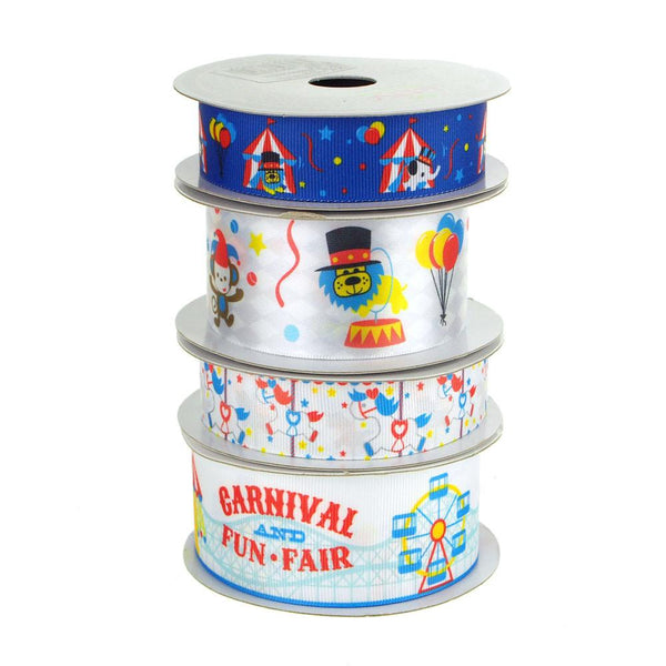 12-Pack, Carnival Fun Fair Assorted Ribbon, 4 Rolls, 10 Yards