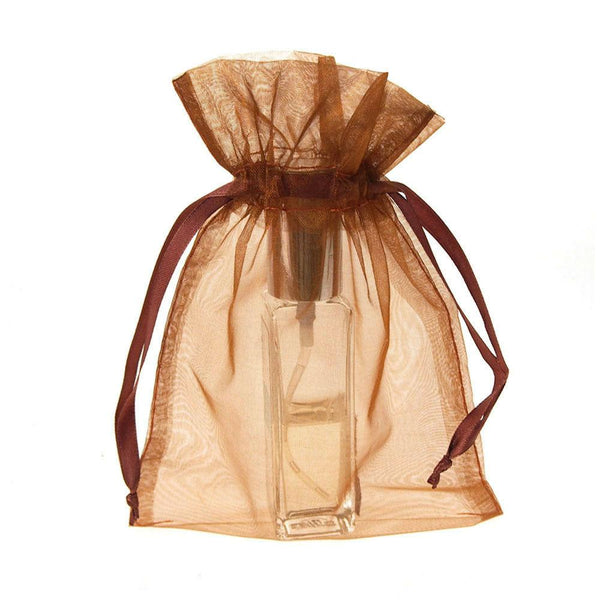 Organza Favor Pouch Bag, 5-Inch x 6-1/2-Inch, 12-Count, Copper Brown