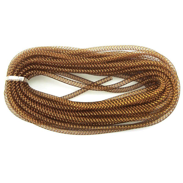 Solid Mesh Tubing Deco Flex Ribbon, 8mm, 10 Yards, Copper Brown
