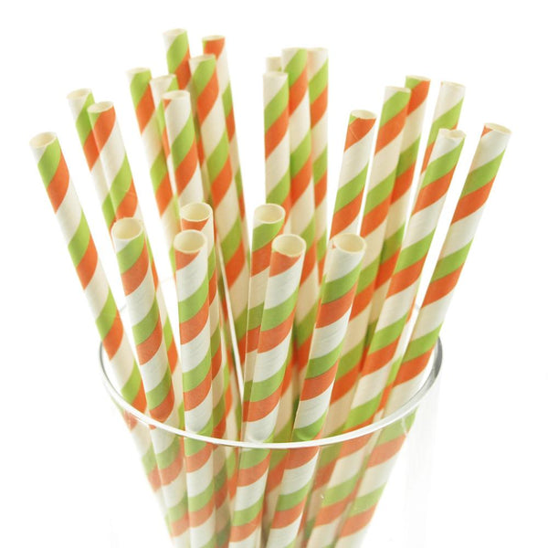 12-Pack, Candy Striped Paper Straws, 7-3/4-inch, 25-Piece, Coral/Apple Green/White