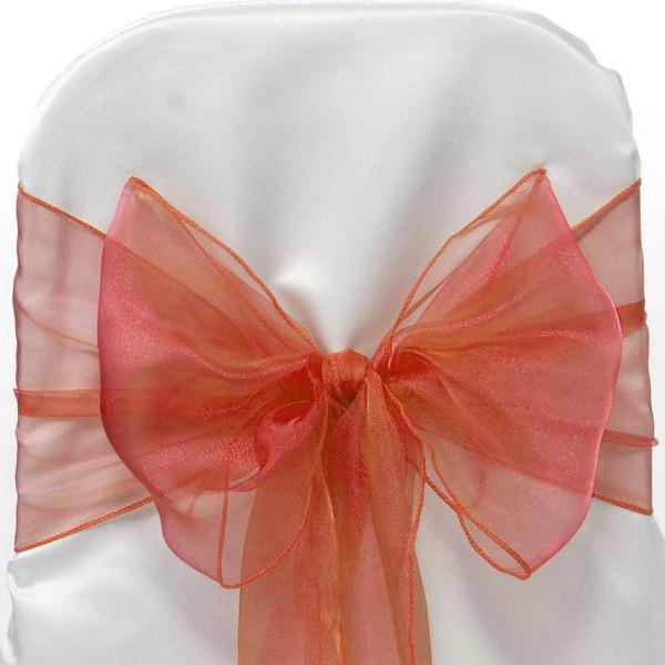 12-Pack, Organza Chair Bow Sash, 9-inch, 10-feet, 6-piece, Coral