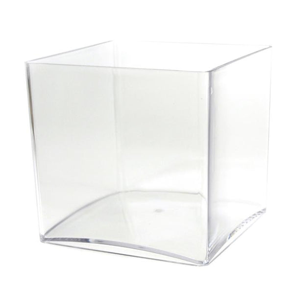 Clear Acrylic Cube Vase Display, 6-Inch x 6-Inch