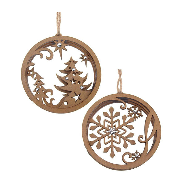 Snowflake Laser Cut Christmas Wooden Ornaments, Natural, 4-Inch, 2-Piece