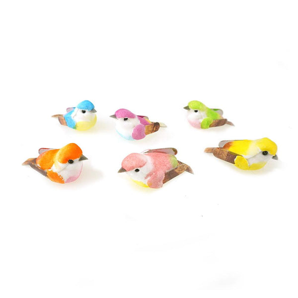 Mini Mushroom Bird Figurines, 1-1/2-Inch, 24-Piece