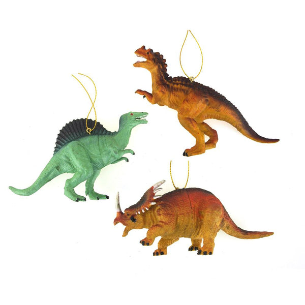 Plastic Dinosaur Ornaments, 4-Inches, 3-piece