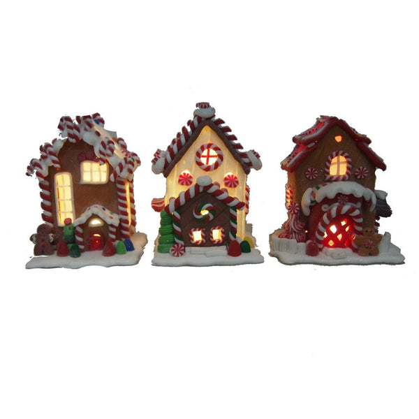 Gingerbread LED House Ornaments, Brown, 5-Inch, 3-Piece