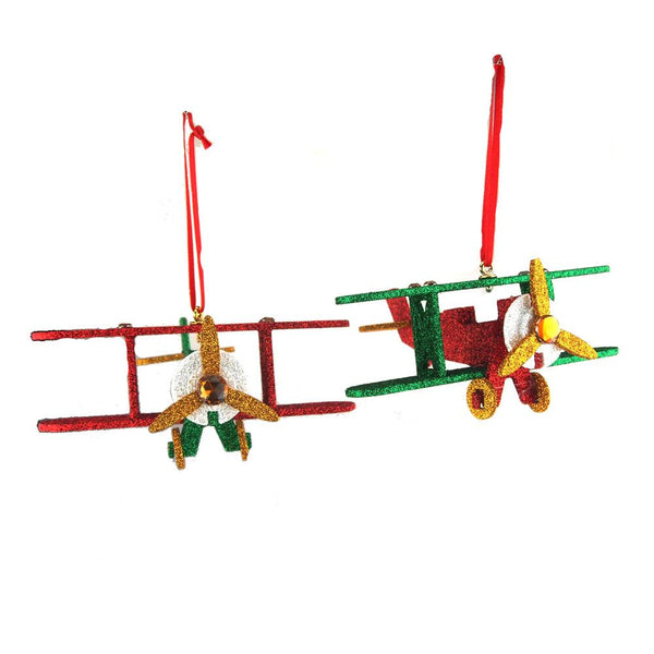 12-Pack, Wooden North Pole Plane Christmas Ornaments, 5-1/2-Inch, 2-Piece