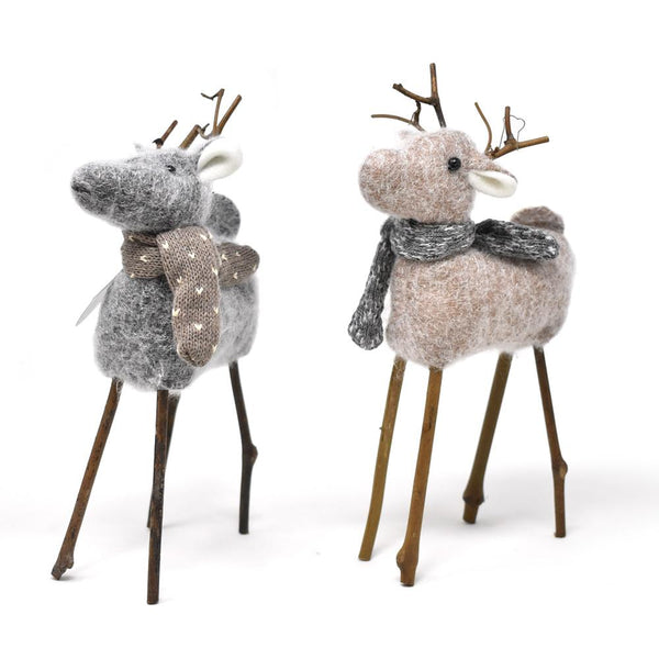 12 Pack, Plush Reindeer with Scarf Christmas Ornaments, Gray/Brown, 9-Inch, 2-Piece