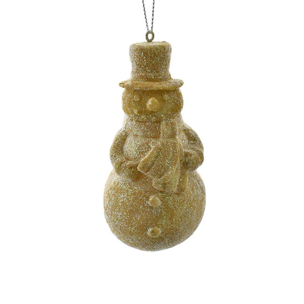 12-Pack, Glittered Resin Snowman Christmas Ornament, Sand, 3-1/2-Inch