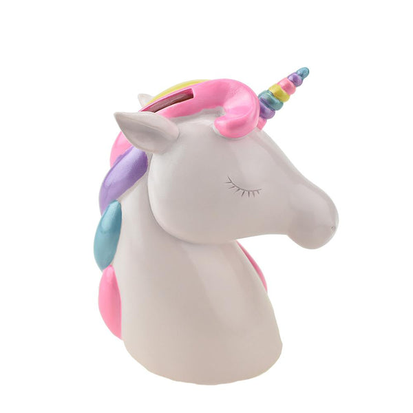 Resin Rainbow Unicorn Coin Bank, 6-1/8-Inch