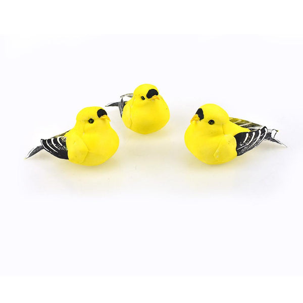 Mini American Goldfinch Bird Figurines, Yellow, 3-1/2-Inch, 12-Piece