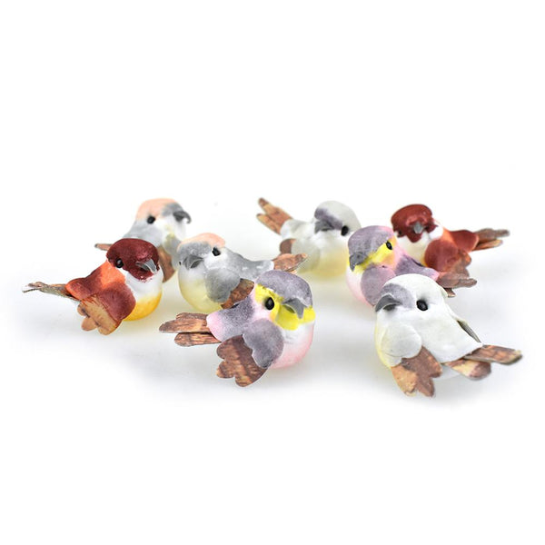 12-Pack, Mini Cardboard Feathered Bird Figurines, 1-1/2-Inch, 24-Piece