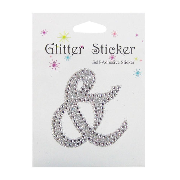 "12-Pack, Diamond Glitter Ampersand ""&"" Sticker, 1-3/4-inch"