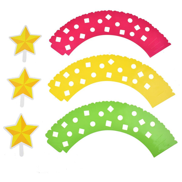 12-Pack, Adjustable Cupcake Wrappings with Star Toppings, Multicolor, 3-1/2-Inch