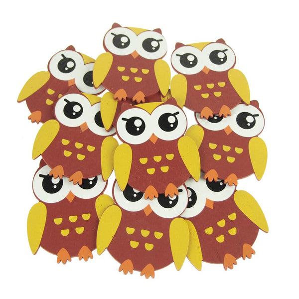 Animal Wooden Baby Favors, 5-Inch, 10-Piece, Brown Owl
