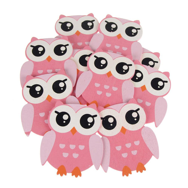 Animal Wooden Baby Favors, 5-Inch, 10-Piece, Pink Owl