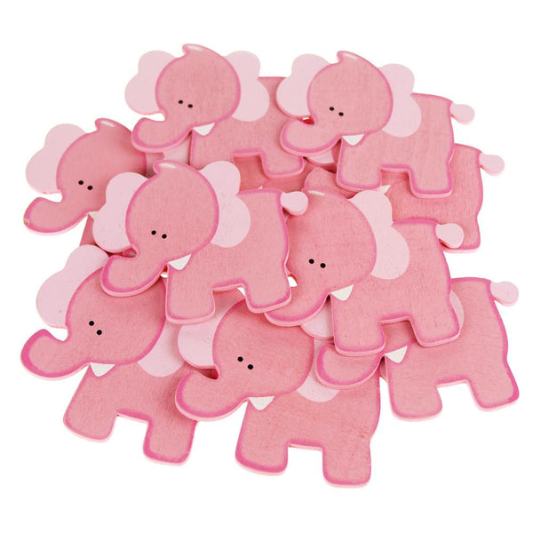 12-Pack, Animal Wooden Baby Favors, 4-inch, 10-Piece, Pink Elephant