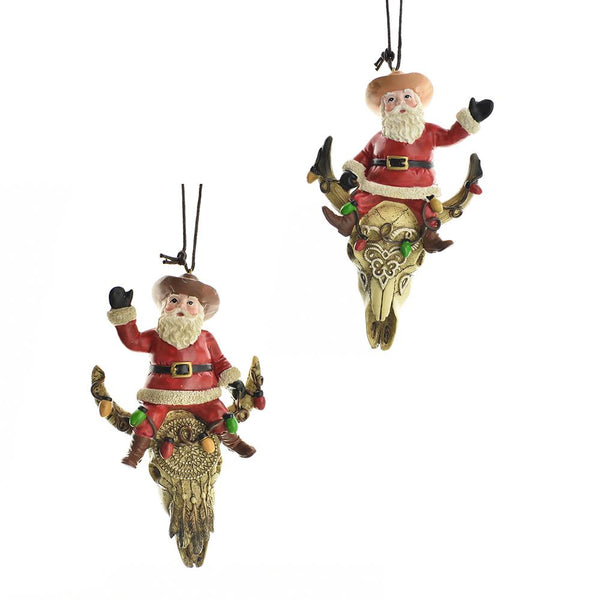 12-Pack, Western Santa On Cow Skull Ornaments, 4-1/2-Inch, 2-Piece