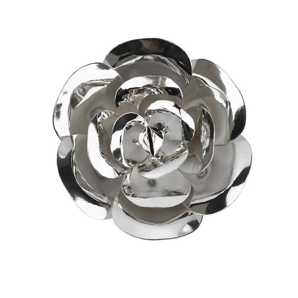 Paper Ranunculus Wall Flower, 7-3/4-Inch, Silver