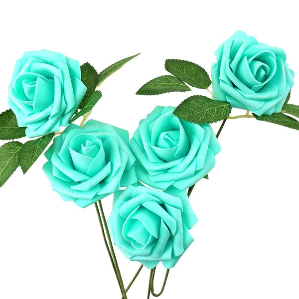 Latex Foam Artificial Rose Stems, Aqua, 9-1/4-Inch, 25-Count