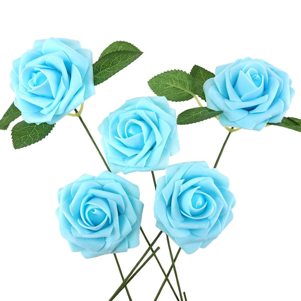 Latex Foam Artificial Rose Stems, Light Blue, 9-1/4-Inch, 25-Count