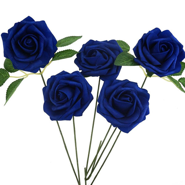 Latex Foam Artificial Rose Stems, Royal Blue, 9-1/4-Inch, 25-Count
