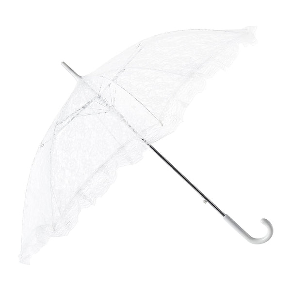 White Lace Parasol Umbrella, 34-Inch Diameter, 27-Inch Length