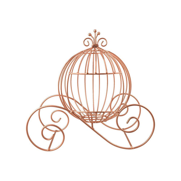 Metal Cinderella Pumpkin Carriage Decoration, Rose Gold, 12-1/2-Inch