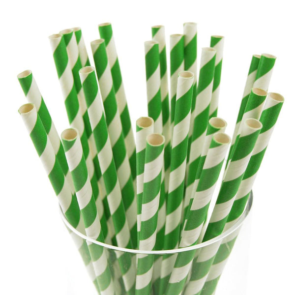 12-Pack, Candy Striped Paper Straws, 7-3/4-inch, 25-Piece, Emerald Green/White