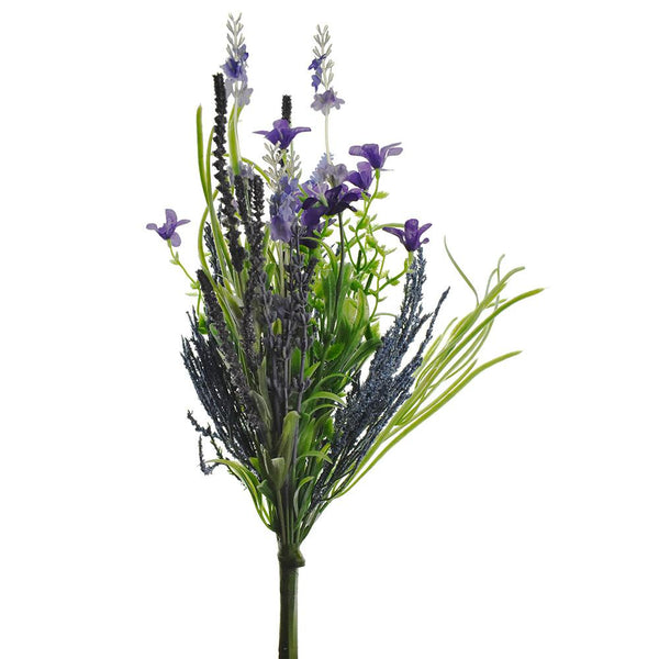 Artificial Lavender and Fern Bouquet, 14-Inch