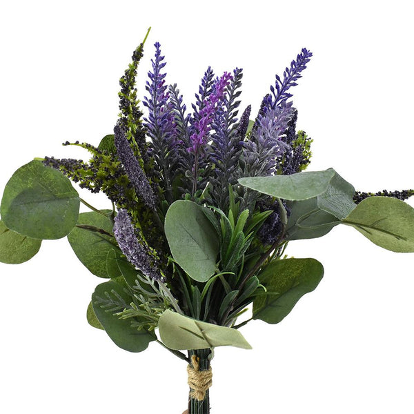 Artificial Lavender and Eucalyptus Bouquet, 13-1/2-Inch