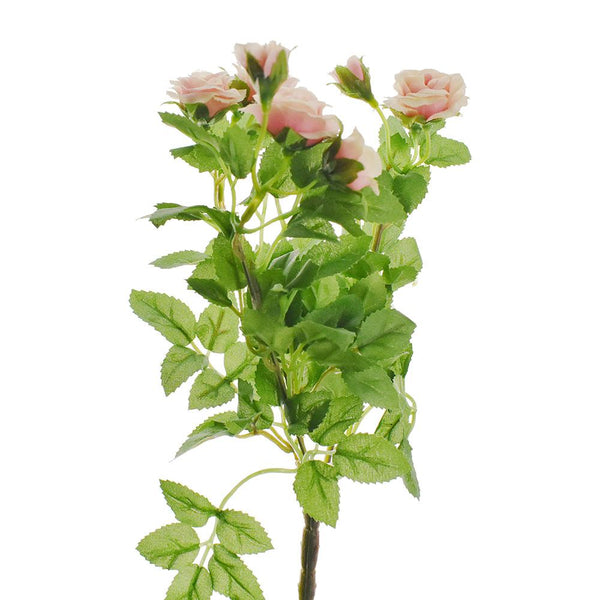 Artificial Mini Rose Bush Spray, Pink, 10-Inch