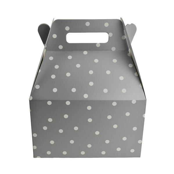 12-Pack, Polka Dot Cardboard Favor Box, Silver, 8-Inch, 3-Count