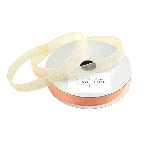 Sheer Organza Ribbon, 3/8-inch, 25-yard, Light Peach