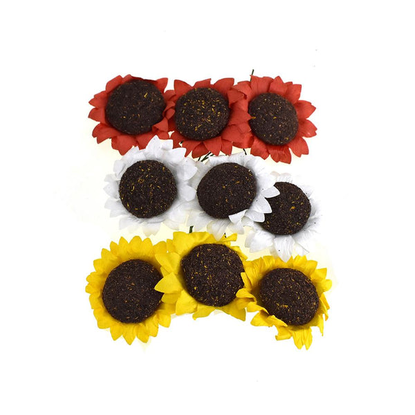 Handmade Paper Sunflower Embellishments, Multicolor, 1-1/2-Inch, 9-Count