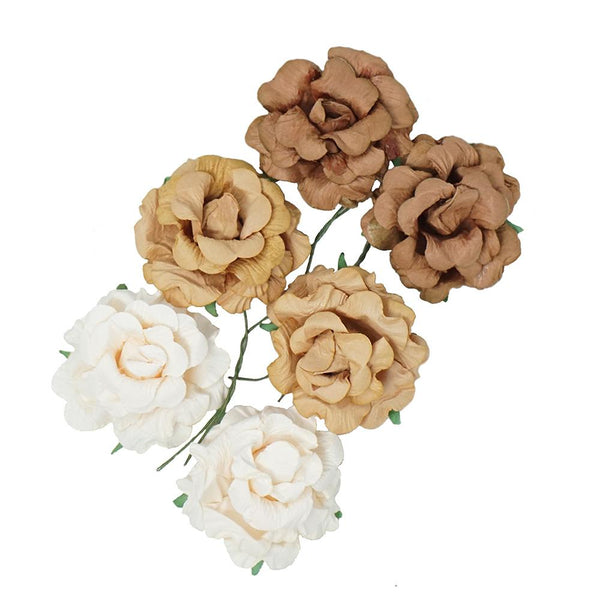 Handmade Paper Open Rose Embellishments, 1-1/2-Inch, 6-Count, Earth