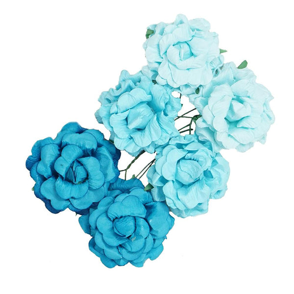 Handmade Paper Open Rose Embellishments, 1-1/2-Inch, 6-Count, Blue