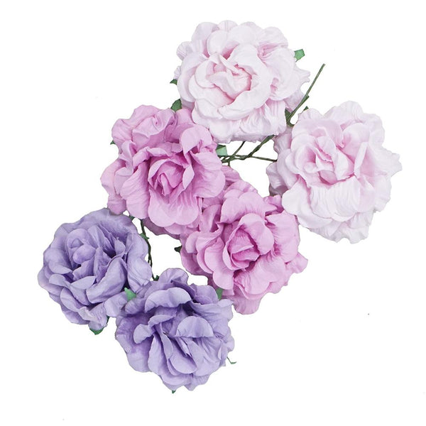 Handmade Paper Open Rose Embellishments, 1-1/2-Inch, 6-Count, Viola
